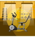 Exercise bike in gym interior with equipment vector image