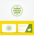 farm fresh shop logo set with green leaves vector image vector image