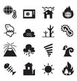global warming disaster catastrophe icons set vector image