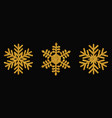 golden snowflakes christmas design vector image