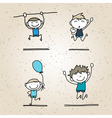 hand drawing cartoon happy kids vector image vector image