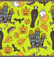 hand-drawn halloween colorful seamless pattern vector image vector image