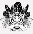 hand drawn tiger with deer and vector image