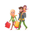 happy family mother father daughter xmas shopping vector image vector image
