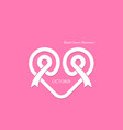 heart shape and pink ribbon icon vector image vector image