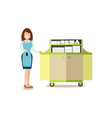hotel housemaid in flat style vector image vector image