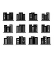 icons buildings and company set bank and office vector image vector image