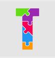 jigsaw color shape puzzle piece letter - t vector image vector image