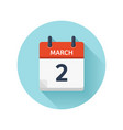 march 2 flat daily calendar icon date and vector image
