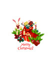 merry christmas wish gifts greeting icon vector image vector image