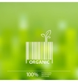 Organic barcode symbol on blurry background vector image