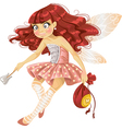 Pretty red haired tooth fairy in pink vector image vector image