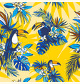 seamless pattern hand drawn tropical monstera vector image vector image