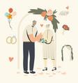 senior characters wedding ceremony happy bridal vector image vector image