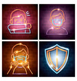 set icons 2019 ncov neon light vector image vector image