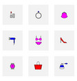 set of colored woman things icons ring bag purse vector image