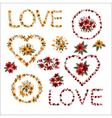 Set of Flowers - Frames Letters and Hearts vector image