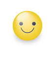 slightly cartoon smiling yellow face vector image vector image
