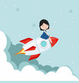 small girl sitting on on a flying rocket vector image vector image