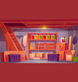 storage room in house basement with food preserve vector image vector image