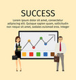 success infographic with business people vector image vector image
