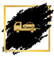 tow car evacuation sign golden icon at vector image vector image
