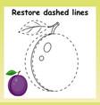 trace game for children cartoon purple plu vector image