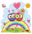 two owls are sitting on the rainbow vector image vector image