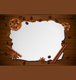 vintage frame cinnamonbiscuit on wooden table vector image vector image