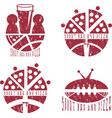 vintage grunge labels set of sport bar and pizza vector image