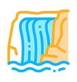 waterfall in mountains icon outline vector image