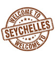 welcome to seychelles brown round vintage stamp vector image vector image