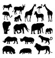 wild african animals silhouettes set zoo vector image