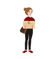 woman girl standing bring delivery box cardboard vector image