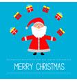 Cartoon Santa Claus and gifts Merry Christmas card vector image