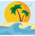 Palm trees beach seashells sunset and waves vector image