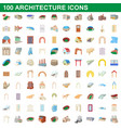 100 architecture icons set cartoon style vector image vector image