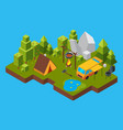 3d isometric landscape with camping in the forest vector image