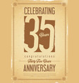 anniversary retro background 35 years vector image