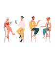 bar visitors sitting on chairs and drinking vector image vector image