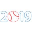 baseball 2019 lettering vector image