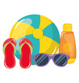 beach balloon with sandals and solar blocker vector image vector image