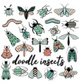 big colorful hand drawn doodle set with insects vector image