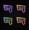big sale neon arrow sign set on black background vector image