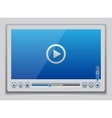 Blue glossy video player template vector image vector image