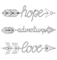 Bohemian Arrows Handpainted Signs boho adventure vector image vector image