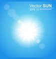 bright sun in the blue sky with glare effect vector image