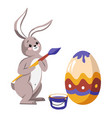 bunny painting egg easter holiday symbol ornament vector image vector image