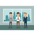 Businessmen shaking hands in modern office vector image