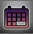 calendar sign violet vector image